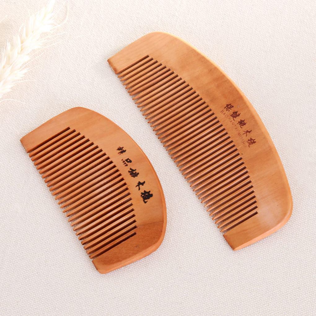 Chinese Traditional Mini Portable Wood Natural Comb Anti-Static Beard Head Massage Care Comb Brush Tool