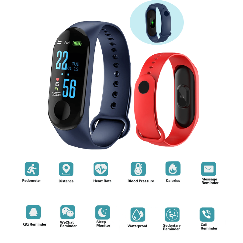M3 Plus Sport Fitness Tracker Watch Smartband Smart Bracelet Blood Pressure Heart Rate Monitor Smart Band Wristband Men