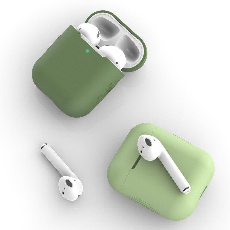 Тонкий кожаный чехол с защитой от падения для Airpods1 2 силиконовый чехол для Bluetooth гарнитуры для AirPods 1 2 Чехол для наушников Аксессуары зарядны...