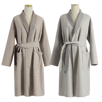 Women Wool Blends Duster Trench Coat Long Sleeve Wrap Long Outer With Belt Women Casual Turn-down Collar Winter Cardigan Kimono