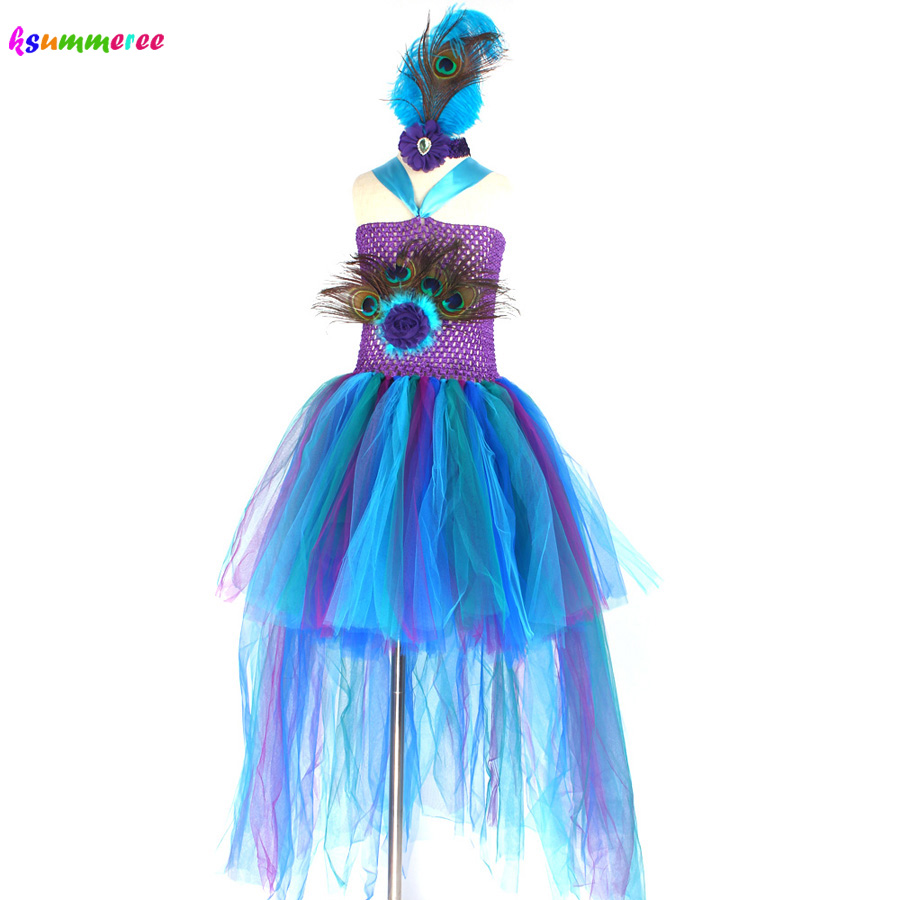 Peacock Tutu Costume Dress Child Girls Pageant Prom Ball Gown Princess Peacock Feather Halloween Birthday Party Train Dress 6