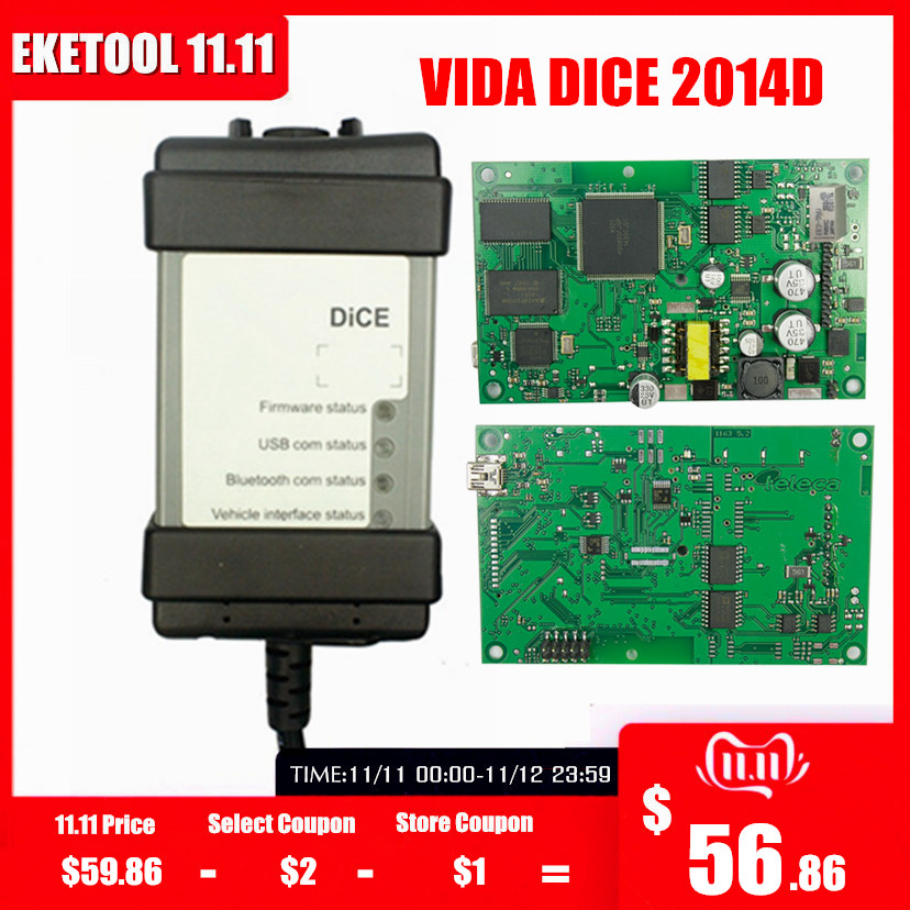 For VOLVO VIDA DICE 2014D Full Chip Multi-Language Auto Diagnostic Tool Green PCB Origianal Chips EWD Gift