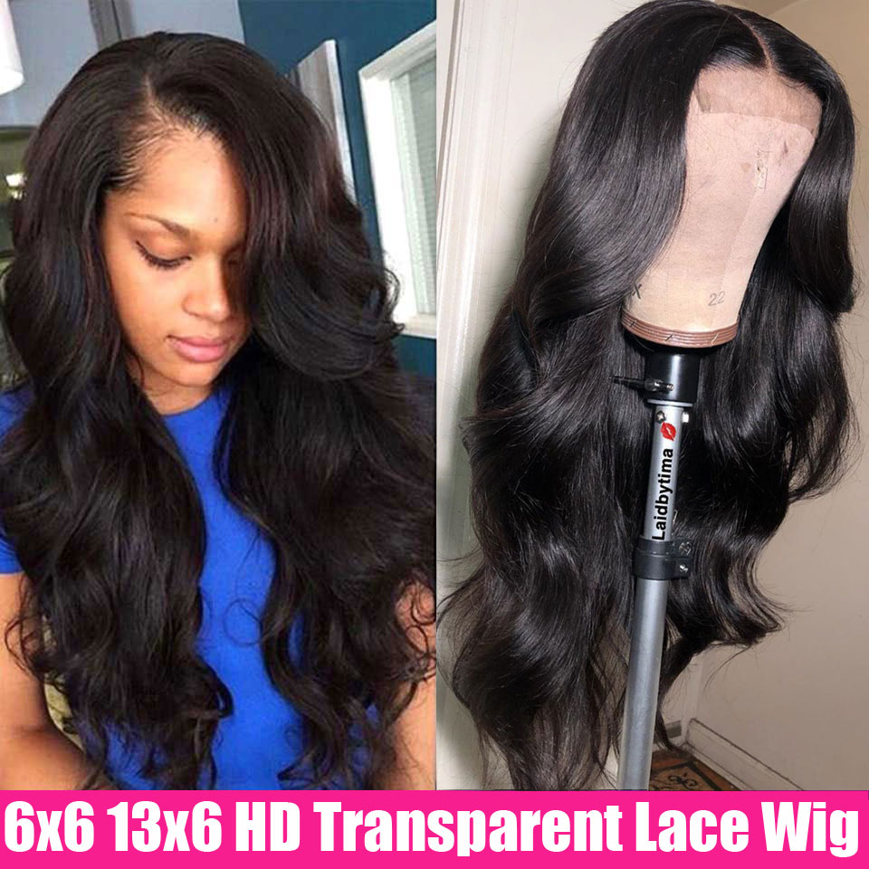 6x6 Lace Closure Wig HD Transparent Lace Frontal Wigs 150% Remy Brazilian Body Wave Closure Wig 13x6 Lace Front Human Hair Wigs