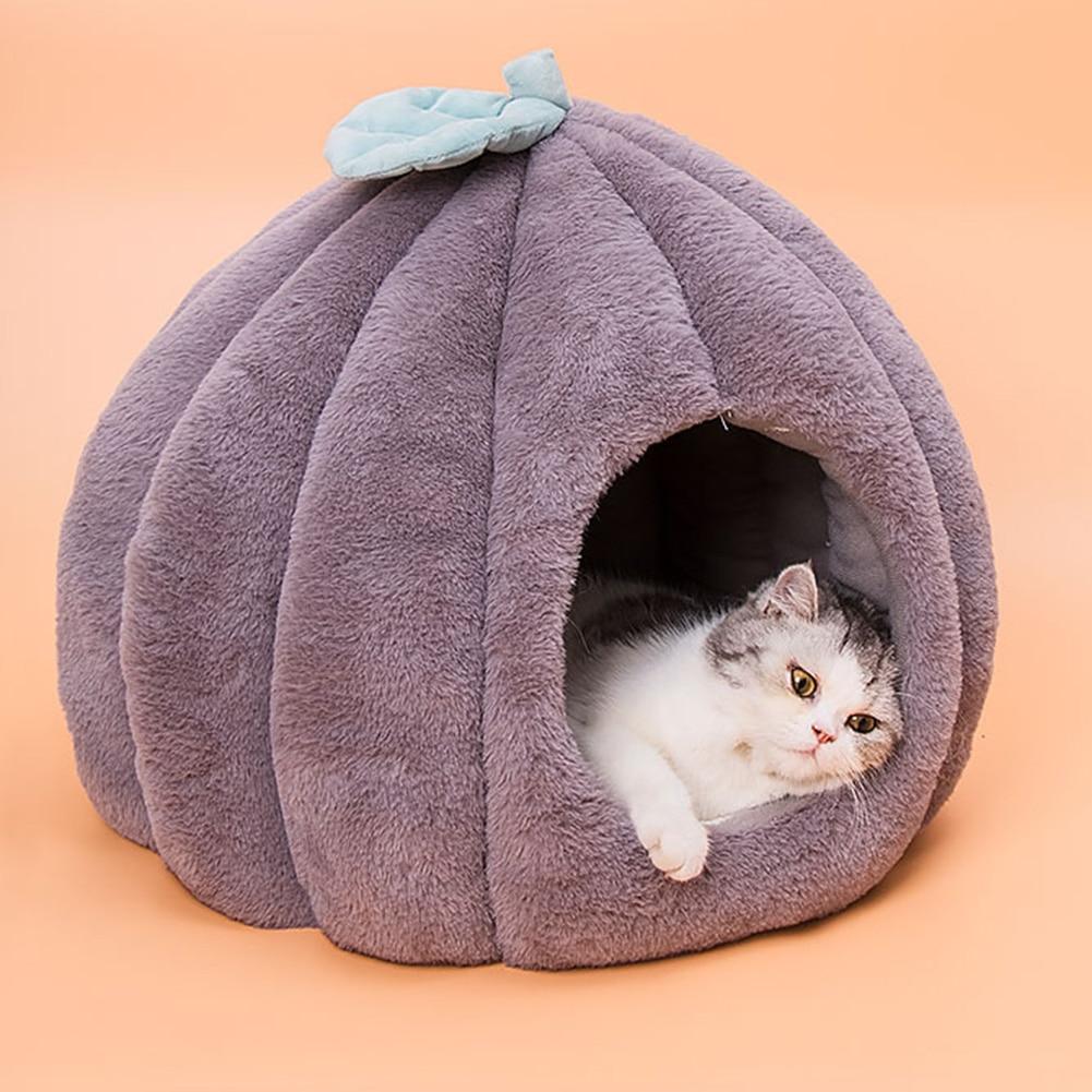 Зимний теплый спальный мешок для щенков в форме тыквы, домашних животных, кошек, собак, дом в пещере, складной Теплый Щенок, котенок, спальная...