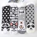 Утолщенные пушистые меховые флисовые хлопковые носки для дома и пола зимние теплые носки-тапочки носки для сна для кровати милые носки с за...
