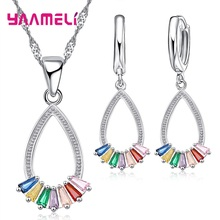 Wedding 925 Sterling Silver Jewelry Sets Colorful Zircon Sto