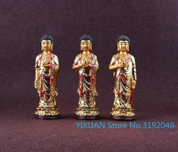 Resin gilded three treasures Buddha Amitabha, pharmacist Buddha, Sakyamuni Buddha, solemn Little Buddha