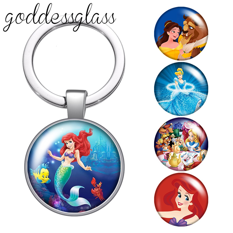 Princesses Alice Little mermaid Belle Round glass cabochon keychain Bag Car key chain Ring Holder Charms keychains for Kids gift