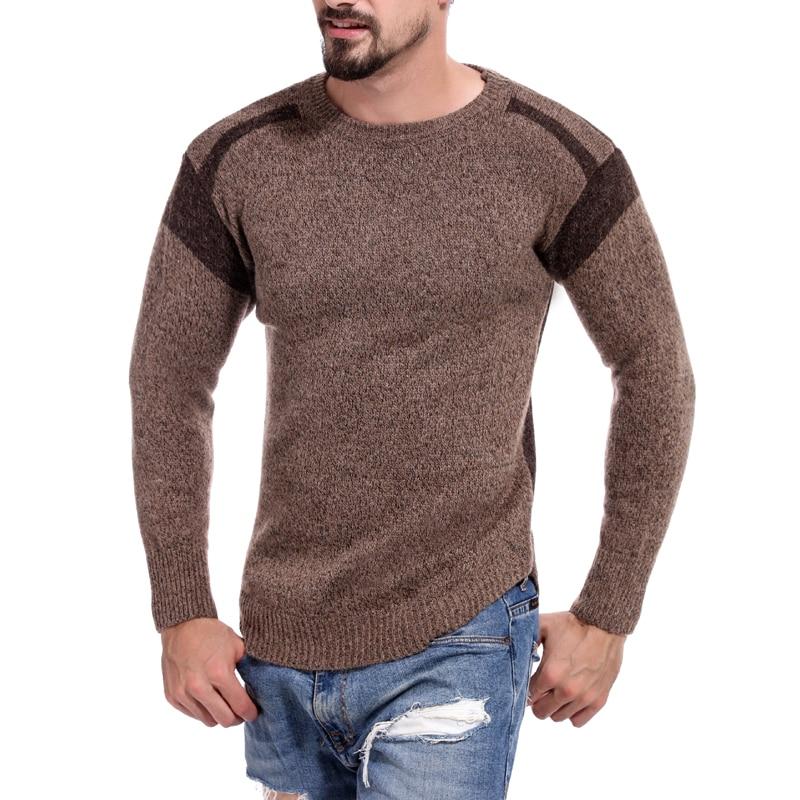 Men Sweater 2019 Men's New Patchwork Sweater Trend Contrast Color Hollow Collar Sweater