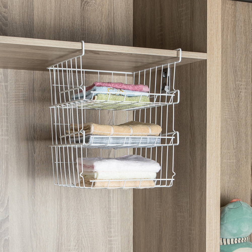 Faroot Easy Install Home Storage Basket Kitchen Multifunctional Storage Rack Under Cabinet Storage Shelf Wire Drain Rack