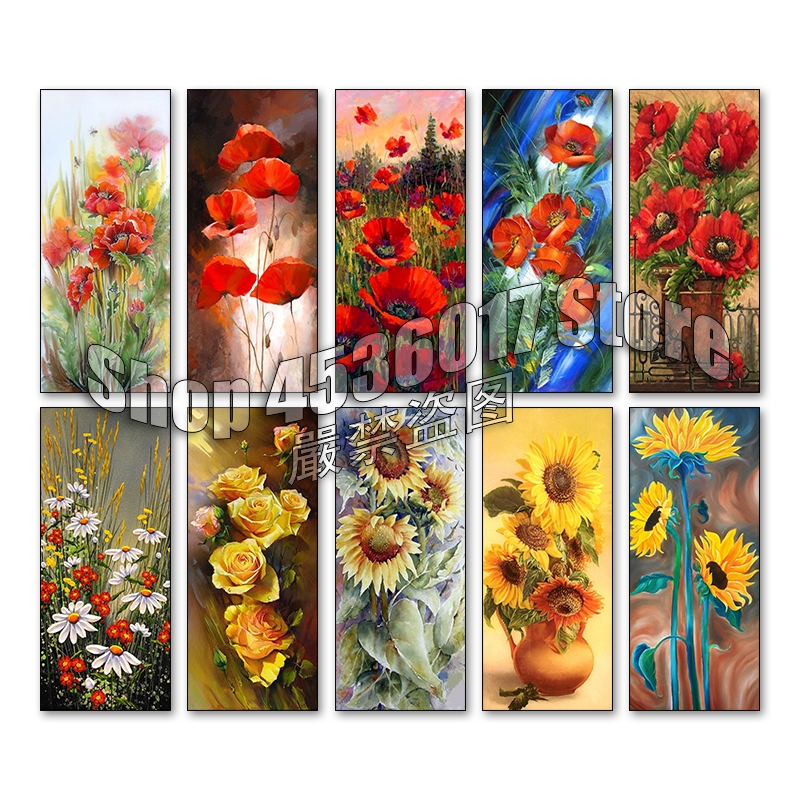 Flowers 5d Diy Diamond Painting Cross Stitch Diamond Embroidery Mosaic Poppies & sunflowers Art Full Rhinestone Gift Home Decor image