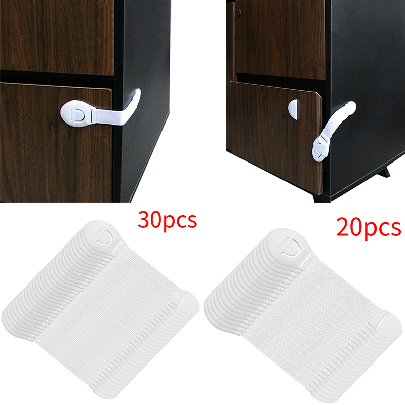 Cabinet Locks Straps 20/30pcs Lot Drawer Door Cabinet Cupboard Toilet Safety Locks Baby Kids Safety Care Plastic
