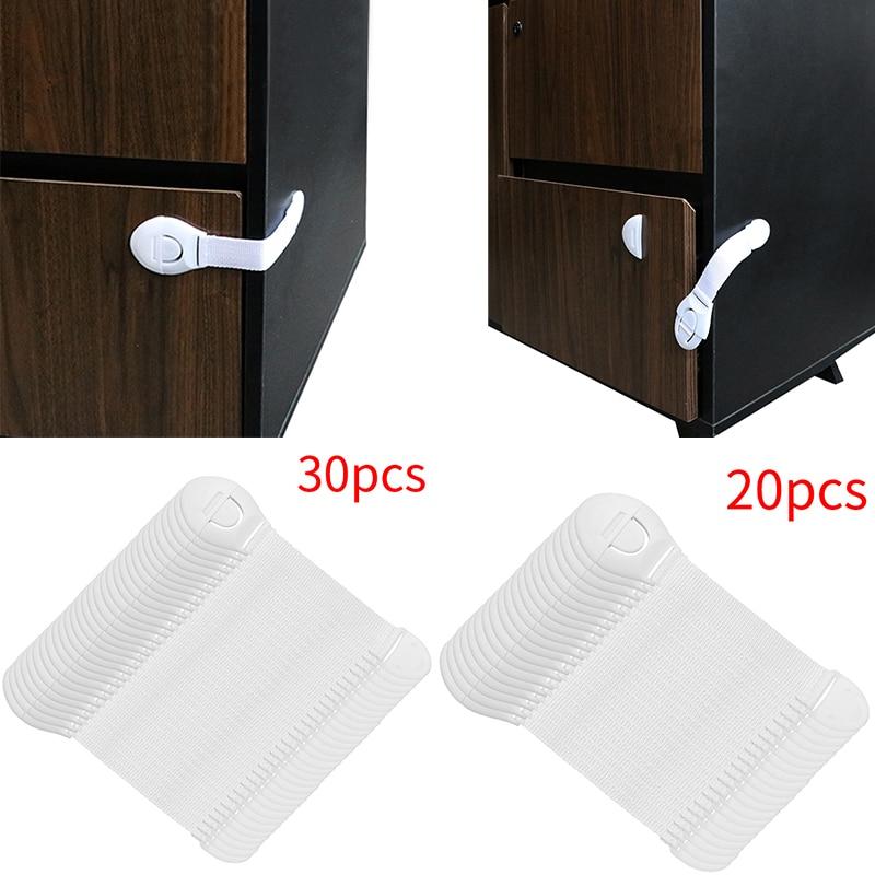 Cabinet Locks Straps 20/30pcs Lot Drawer Door Cabinet Cupboard Toilet Safety Locks Baby Kids Safety Care Plastic