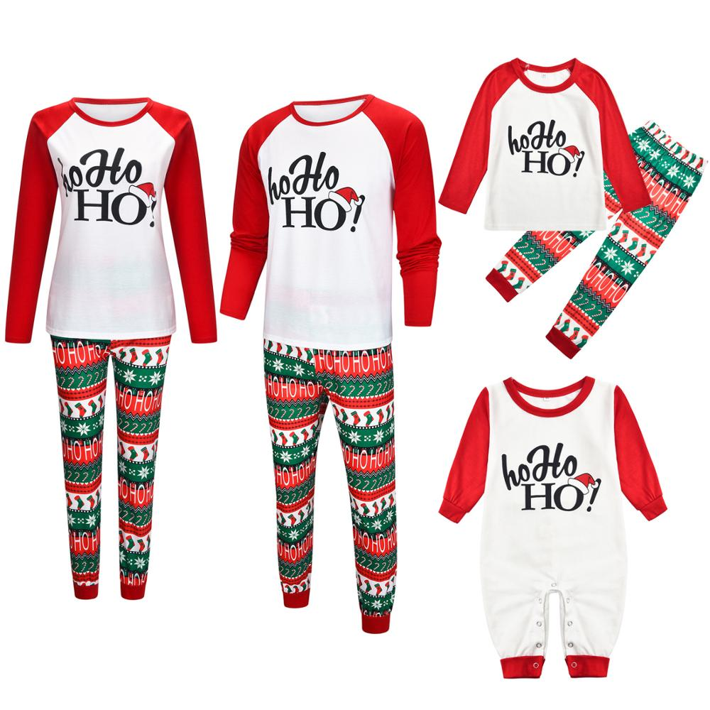 Family Christmas Pajamas Suit 2019 Deer Print Mother Father Kids Family Sleepwears Parent-child Clothes Family Matching Outfits