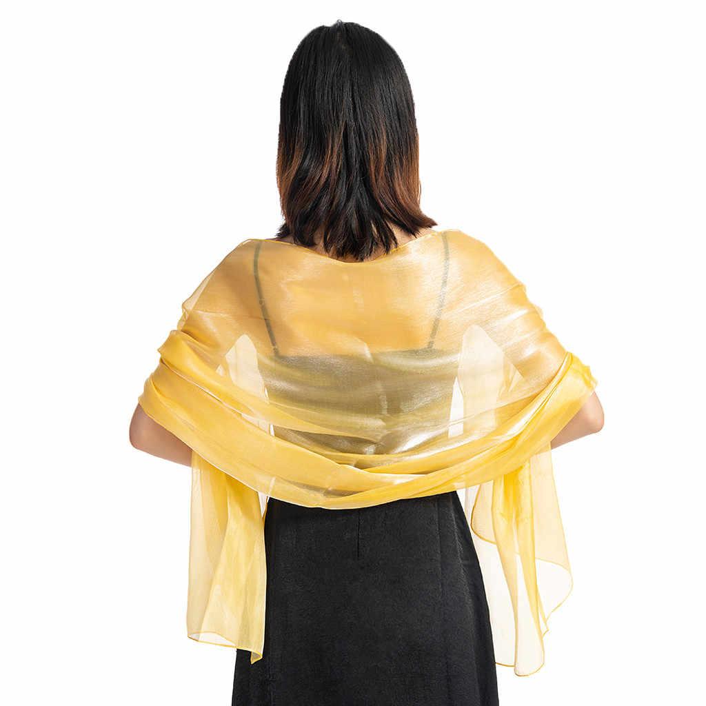 Mulheres Festa À Noite Vestido de Casamento Xaile Cor Sólida Cachecol Xale Wrap Mulheres 2019 Lady Wraps e cachecóis Xale foulard femme