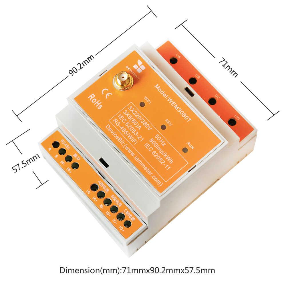 Compteur d'énergie WiFi triphasé bidirectionnel, 150A, Rail Din, intégration avec Assistant domestique, système solaire