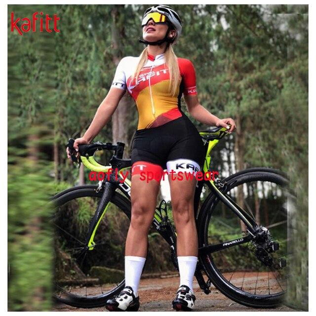 2020 kafitt conjuntos de roupas femininas ciclismo triathlon terno manga curta skinsuit conjuntos maillot ropa maillot macacão 5