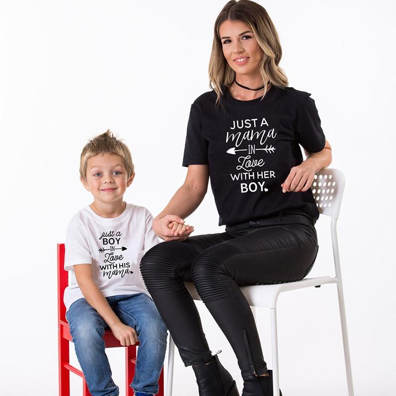 Футболка для мамы и сына хлопковая Одинаковая одежда всей семьи с принтом