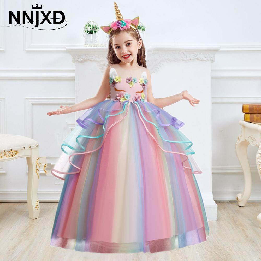 Kids Unicorn Dress for Girls Flower Appliques Ball Gown Little Girl Princess Dresses
