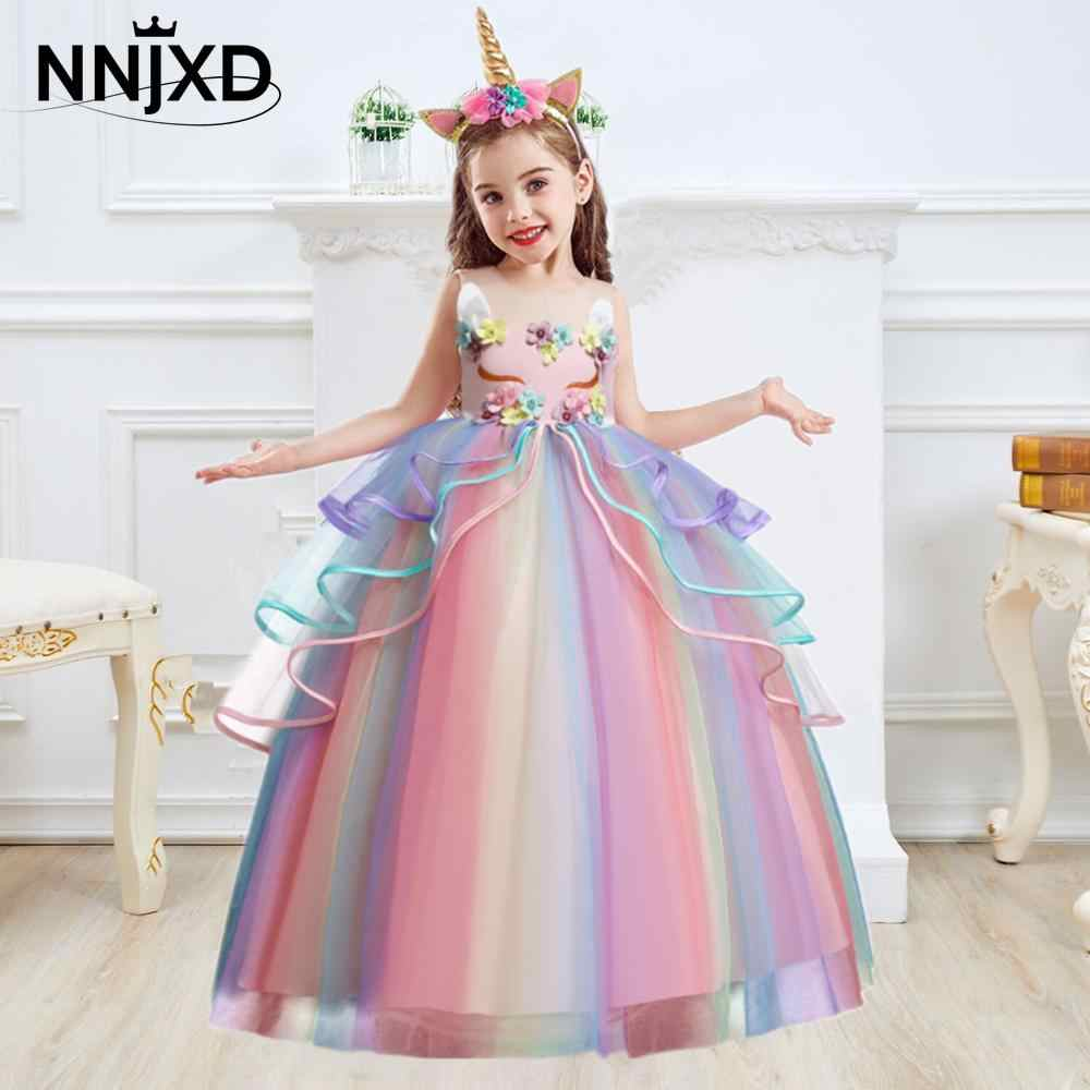 Kids Unicorn Dress for Girls Flower Appliques Ball Gown Little Girl Princess Dresses Elegant Party Costumes Children Clothing