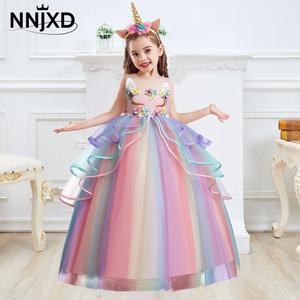Vestido unicornio para niñas con apliques de flores, vestido de baile para niñas pequeñas, vestidos de princesa, trajes elegantes de fiesta, ropa para niños