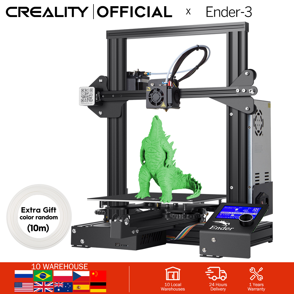CREALITY 3D Printer Ender-3 Ender-3X Upgraded Tempered Glass OptionalV-slot Resume Power Failure Printing KIT Hotbed