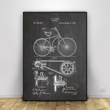 Abstract Canvas Painting Cycling Artwork Patent Poster Vintage Bicycle Print Pictures Room Decor Blueprint Wall Decoration vintage abstract print jeggings