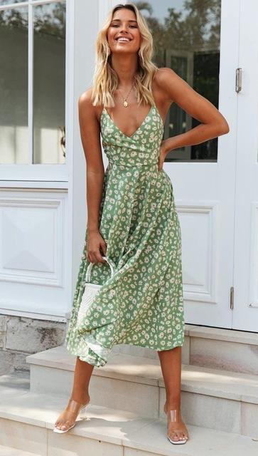 Floral Spaghetti Strap Midi Dress