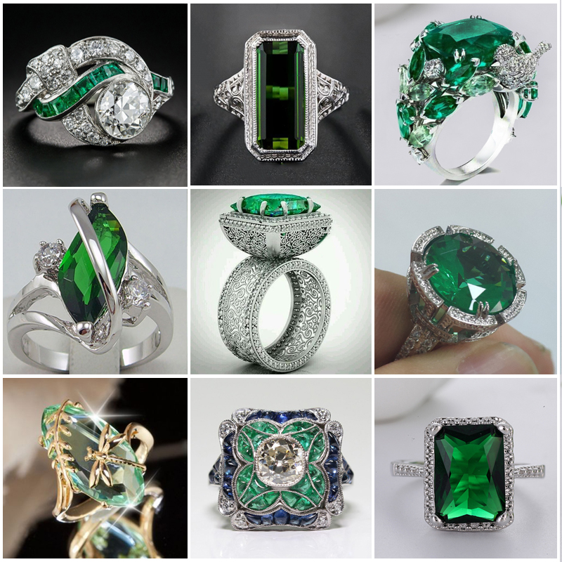 Large Green Stone Ring For Women Wedding Gift Luxury Jewelry Silver Color Cubic Zirconia Ring Bague Femme Anillos Mujer Z5X873