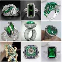 Anillo de piedra verde grande para Mujer regalo de boda joyería de lujo anillo de circonita cúbica de Color plata Bague Mujer Anillos Mujer Z5X873