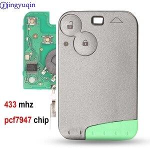 Image 1 - Jingyuqin 433 MHz Pcf7947 Chip 2 Taste Remote Karte Smart Auto Schlüssel für Renault Laguna mit Uncut Key Klinge