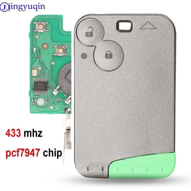 Jingyuqin 433 MHz Pcf7947 Chip 2 Taste Remote Karte Smart Auto Schlüssel für Renault Laguna mit Uncut Key Klinge