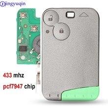 Jingyuqin chave de carro smart, 433 mhz pcf7947 chip 2 botão remoto, para renault laguna, com lâmina sem corte