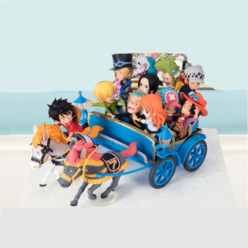 Red Blue One Piece Figure Luffy Roronoa Zoro Nami Chopper in a Carriage Christmas Snow Car Action Anime Figures collect toy gift