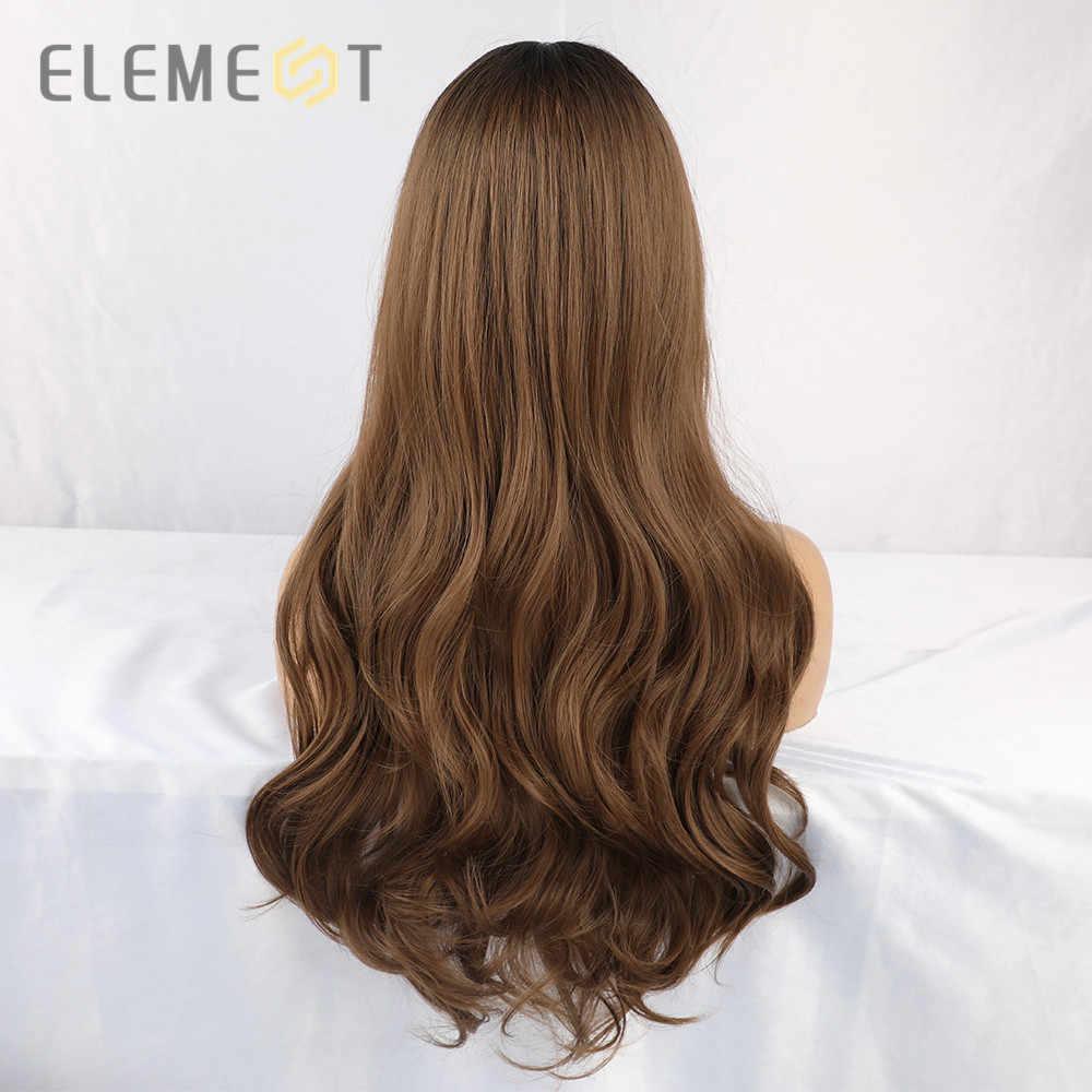 Pelucas de parte media marrón Rubio degradado de Element pelucas largo sintético Natural ondulado pelucas para fiesta Cosplay para mujeres blancas/negras