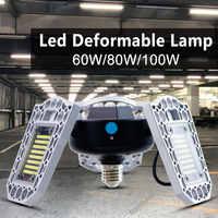 UFO capteur de lumière 60W lampe à LED 100W LED Ampoule E27 220V LED lampe de Garage 80W haute baie lumière E26 Ampoule déformable éclairage d'usine