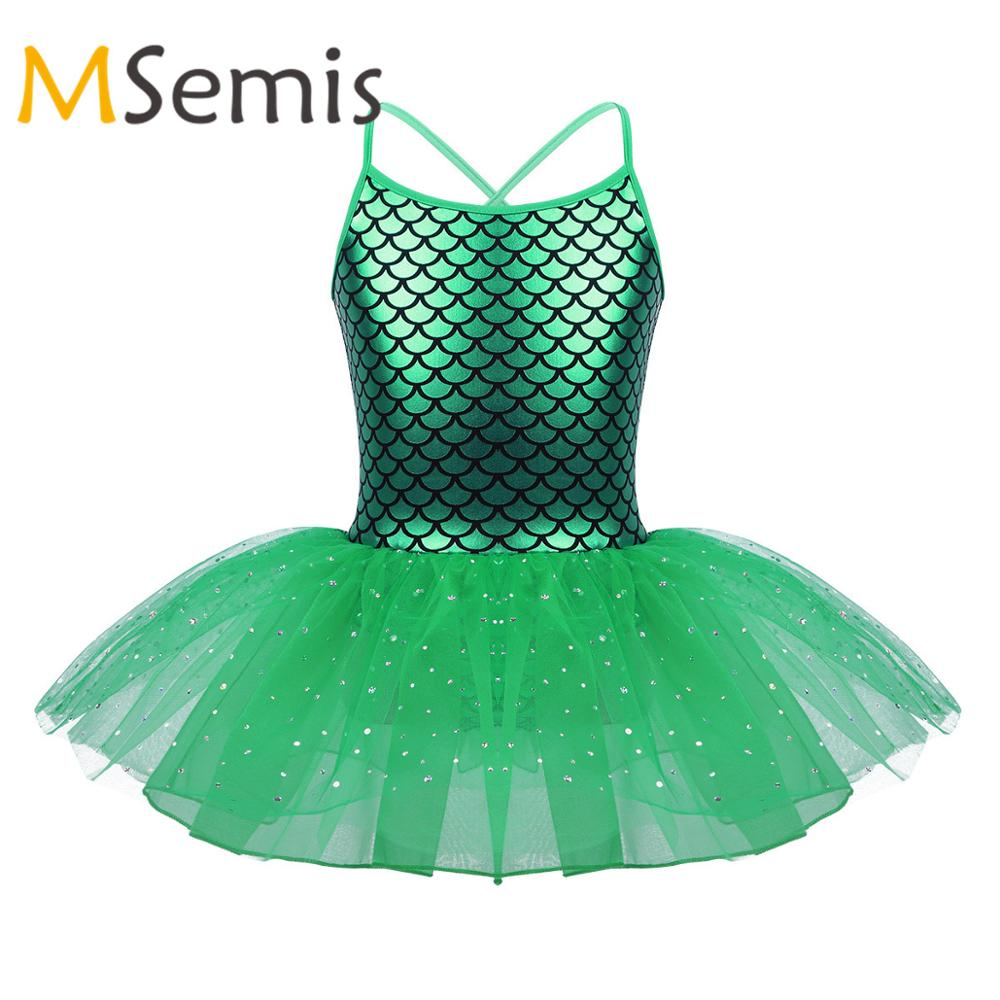 Kids Girls Glitter Mermaid Costume Spaghetti Shoulder Straps Scales Pattern Printed Ballet Dance Gymnastics Leotard Tutu Dress
