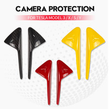 2 Pcs Camera Turn Signal Covers For Tesla Model 3 S X Y Side Marker Decoration Cover Trims Covers Carbon Fiber Pattern