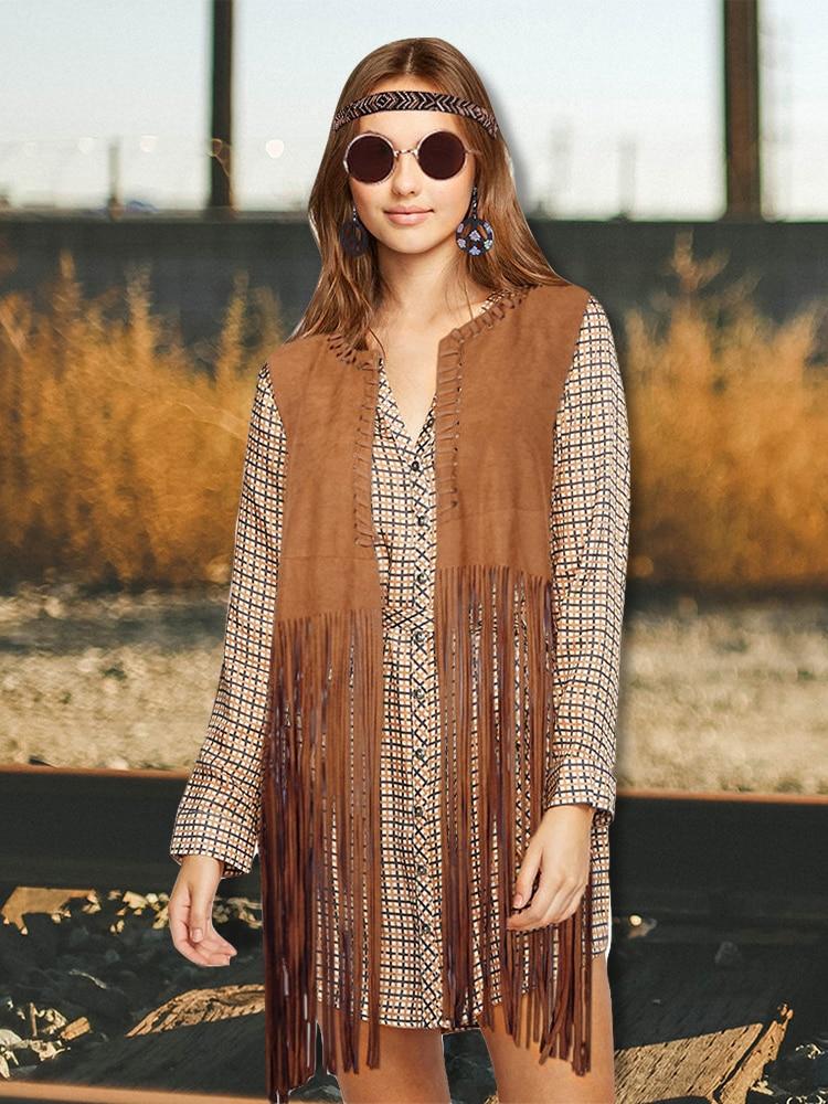 4 Pieces Women Hippie Costume Set Fringe Vest Faux Suede Tassels Vest