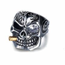 Мужское кольцо с черепом в готическом стиле Винтажное из нержавеющей
