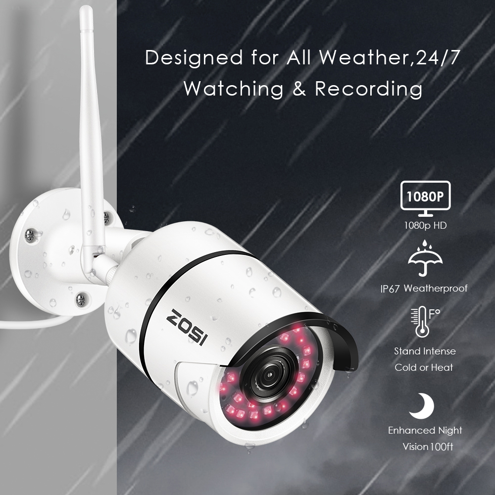 ZOSI WiFi Outdoor IP Camera 1080p HD Waterproof 2.0MP Wireless Security Camera Metal TF Card Record P2P Video Surveillance