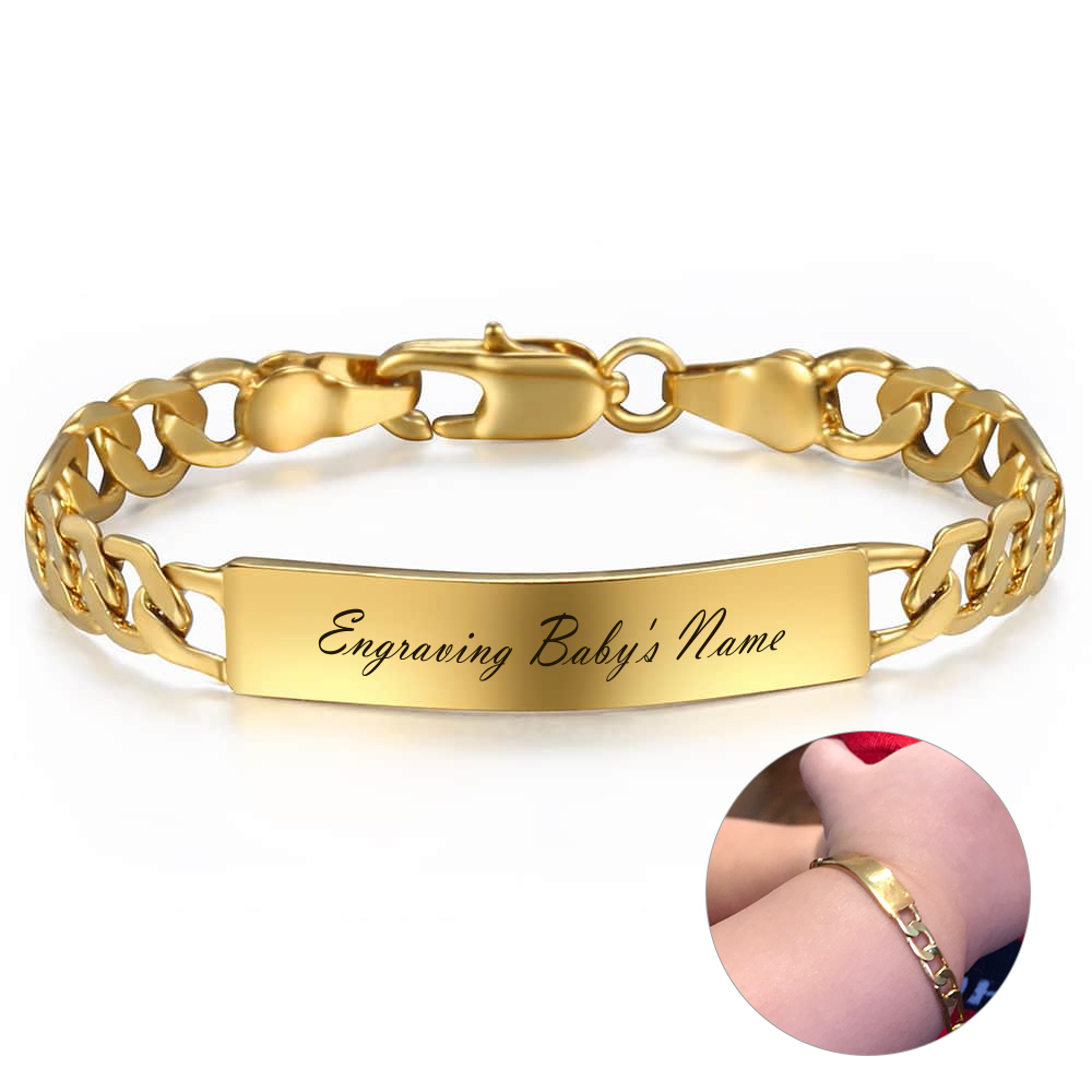 New Personalize Baby Name Bracelet Figaro Chain Smooth Bangle Link Gold Silver Color ID Engraved Bracelet  For Kids Gift DGB426|Customized Bracelets|   - AliExpress