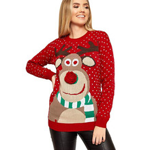 Women Christmas Sweater Ugly Deer Warm Pullover Loose Knitted Long Sleeve Girls Jumper Top Blouse Winter Coat