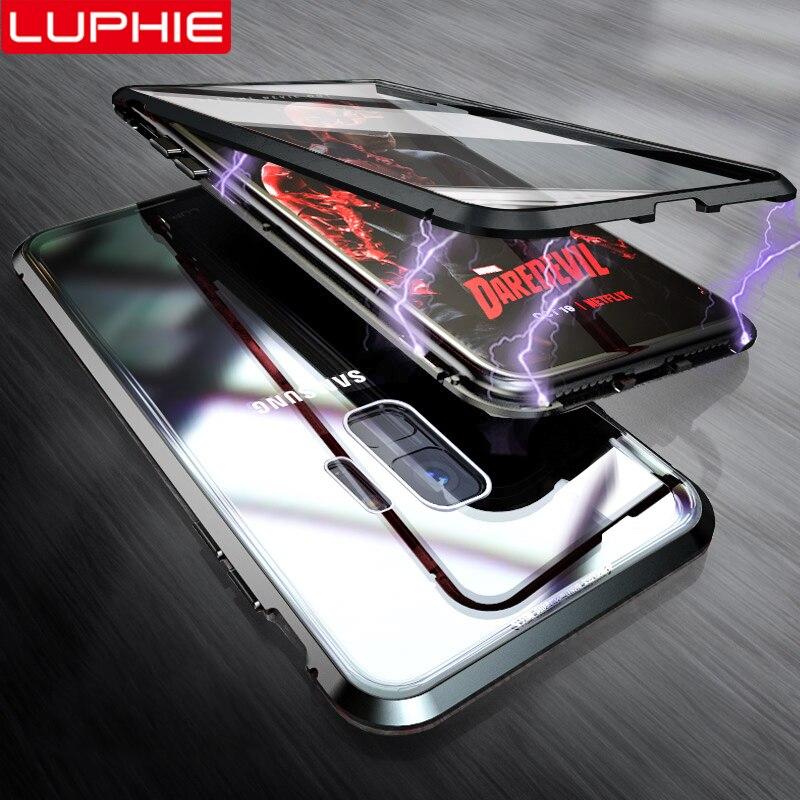 Luphie 360 caixa magnética completa para samsung galaxy s9 s8 mais nota 9 frente traseira caso de vidro para samsung nota 8 9 ímã casos capa