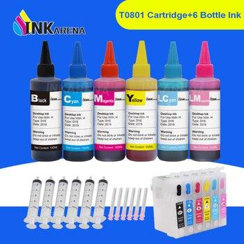 Wymiana INKARENA butelka na atrament 6 × 100ml + T0801-T0806 do napełniania tusz do drukarki kartridż do Epson Stylus Photo P50 T59 R265 270 285 290 360