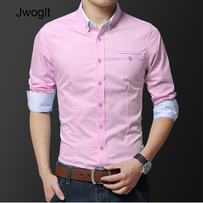 Fashion Handsome Regular Fit Casual Men Long Sleeve Shirt Design Good Fabric Soft Comfortable White Khaki Pink Men Dress Shirts