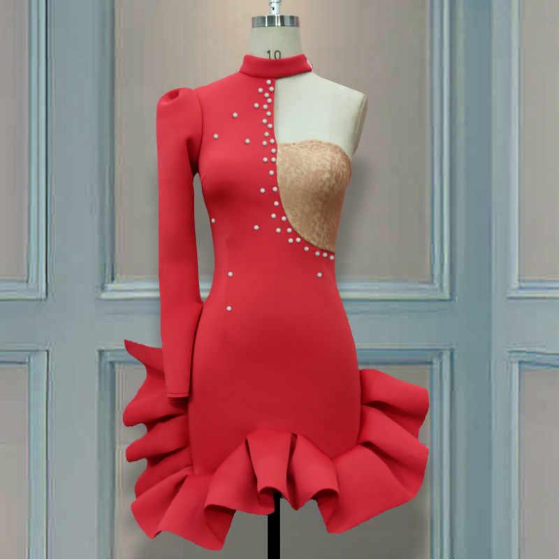 Women Christmas Patchwork Bandage Long Sleeve Asymmetric Off Shoulder Dress