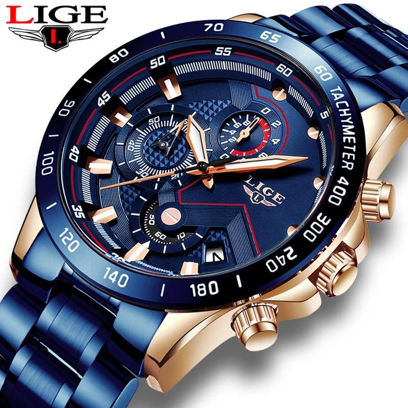 Mens Watches LIGE New Luxury Brand Stainless Steel Quartz Clock Digital Watch Men Army Military Sport Watch Relogio Masculino