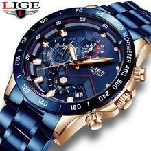 Mens Watches LIGE New Luxury Brand Stainless Steel Quartz Clock Digital Watch Men Army Military Sport Watch Relogio Masculino стоимость