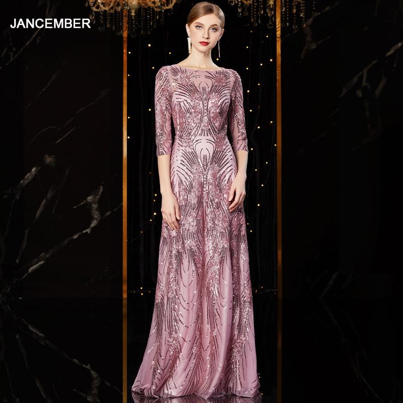 J1952 jancember cheap evening dress long o neck half sleeve pattren sequin lace ladies party dresses kleider damen abendkleidEvening Dresses   -